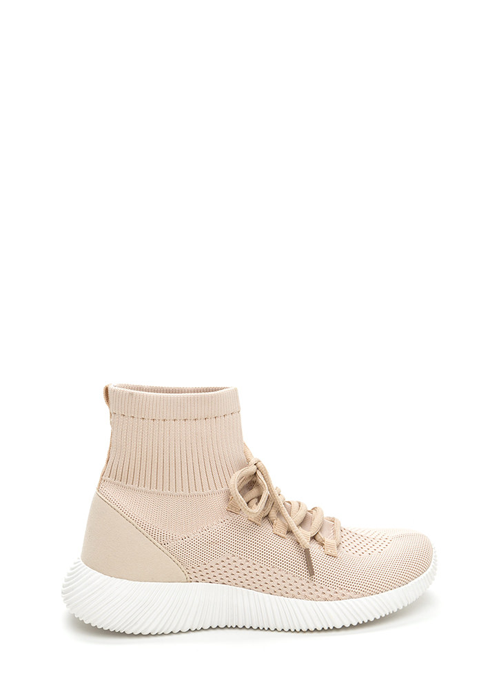 Street Style Knit High-Top Sneakers NUDE