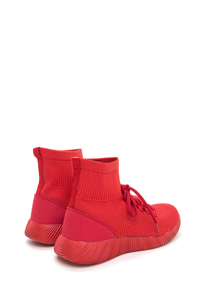 Street Style Knit High-Top Sneakers RED