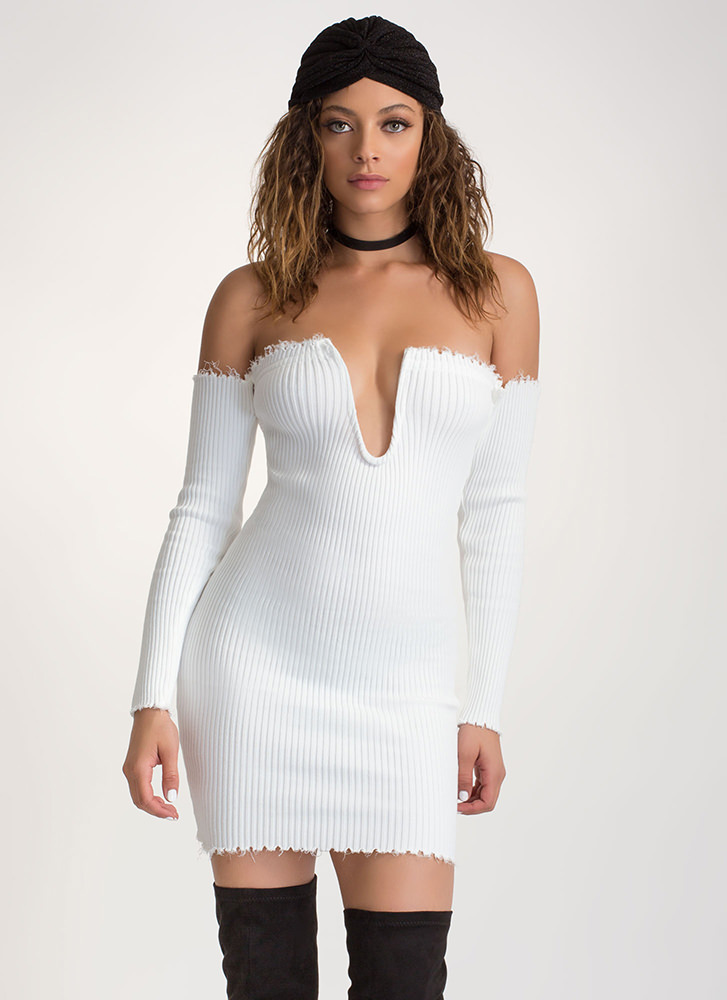 U Got It Ribbed Off-Shoulder Dress WHITE