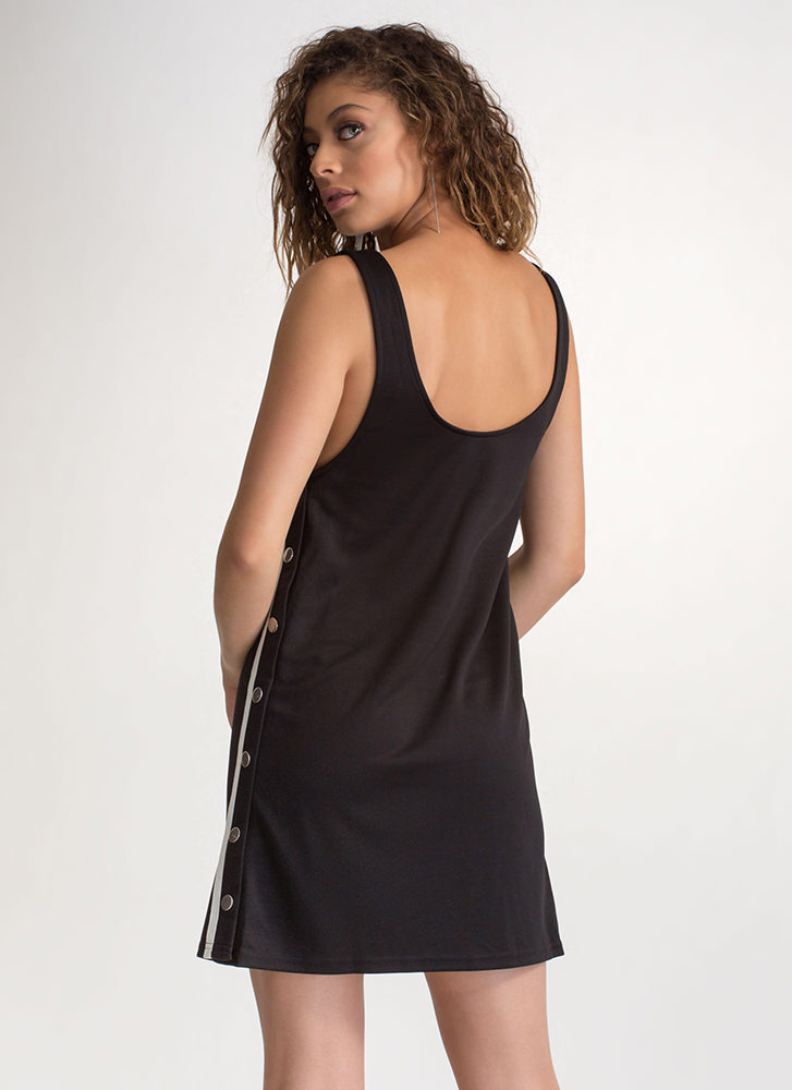 On Track Snap Button Tear-Away Dress BLACK