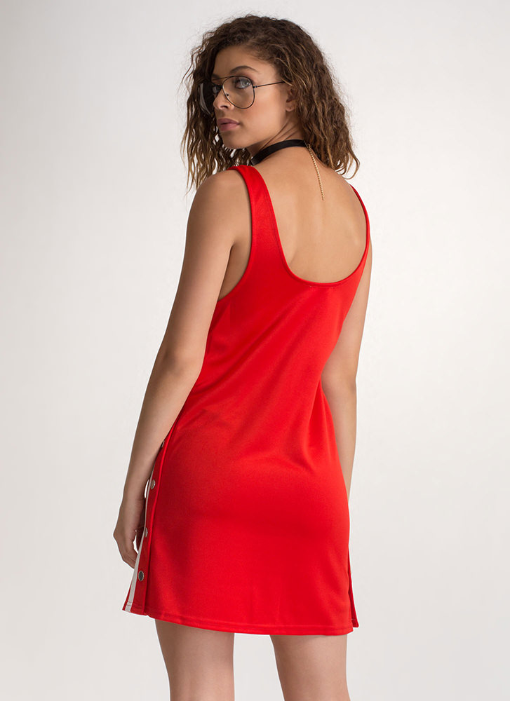On Track Snap Button Tear-Away Dress RED