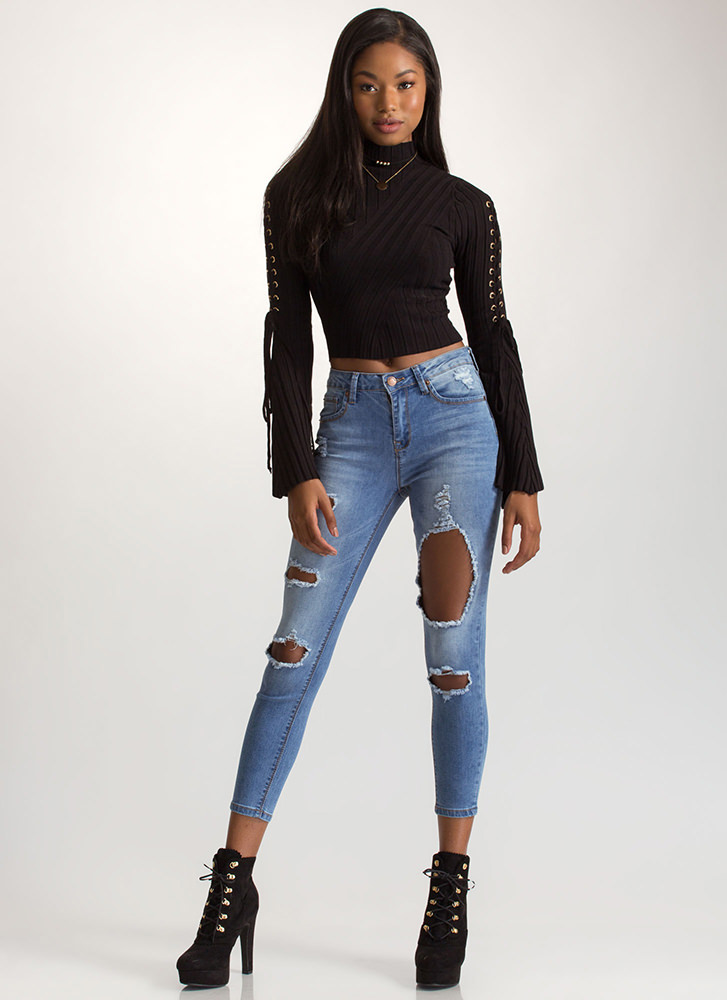 Shred-y To Rock Cut-Out Skinny Jeans BLUE