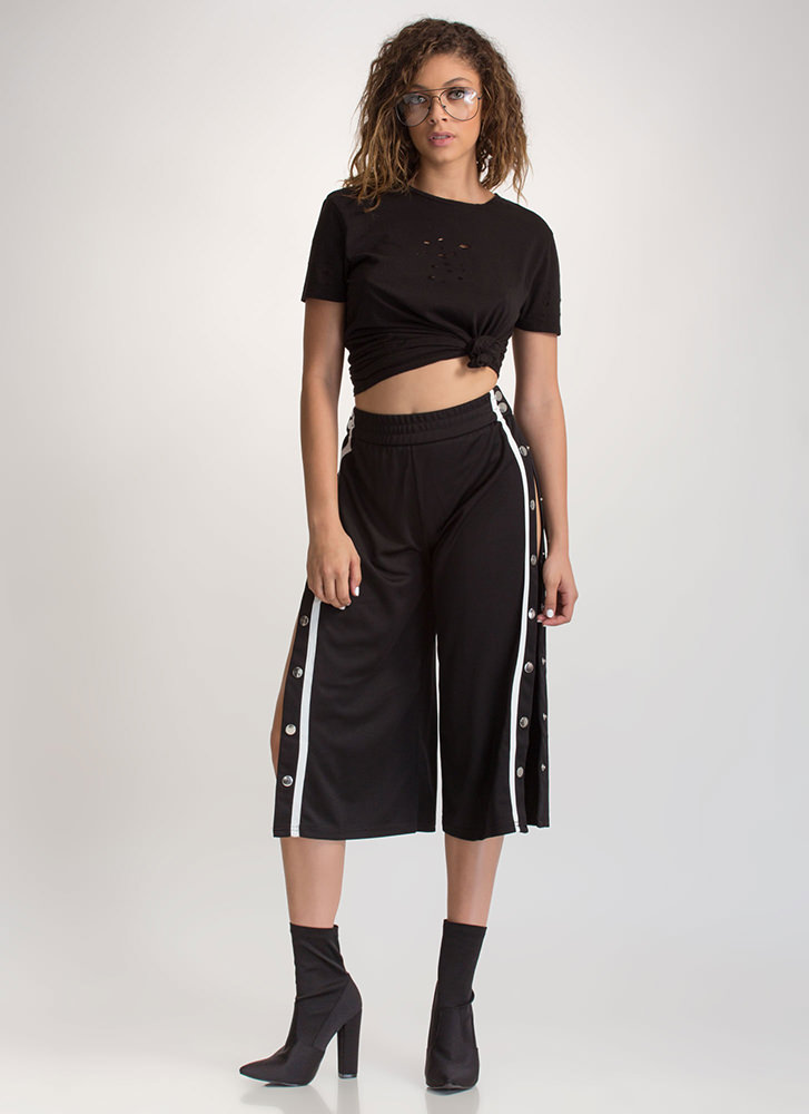 Fast Track Striped Cropped Pants BLACK