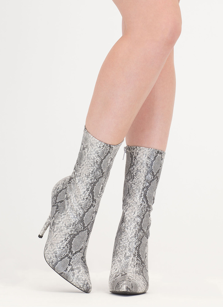 Stylish Point Faux Snakeskin Booties GREY