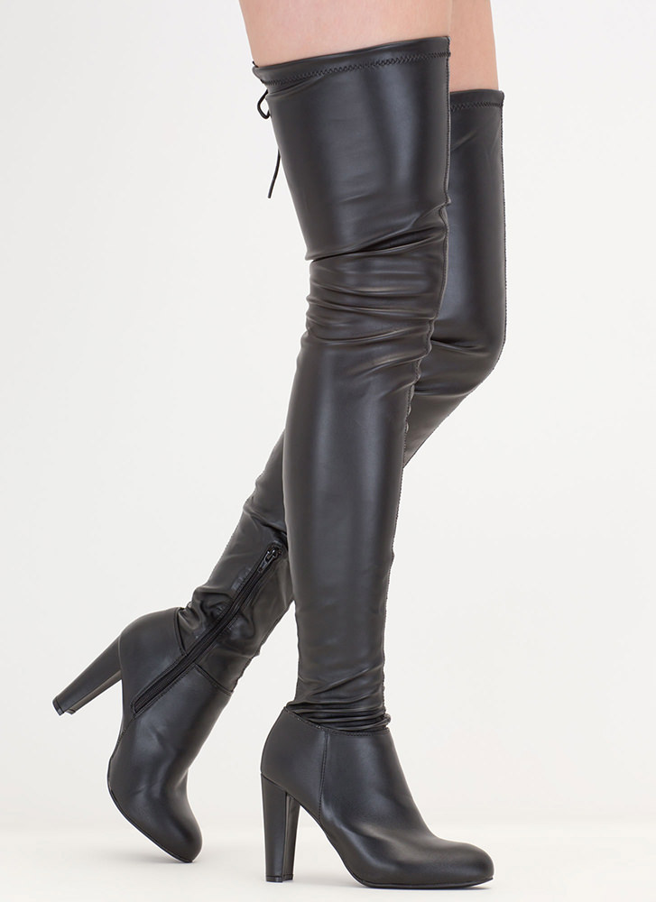 Walk Tall Faux Leather Thigh-High Boots BLACK