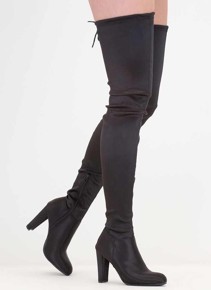 Walk Tall Satin Thigh-High Boots BLACK