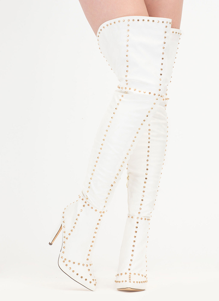 Style Stud-y Faux Leather Thigh-High Boots WHITE