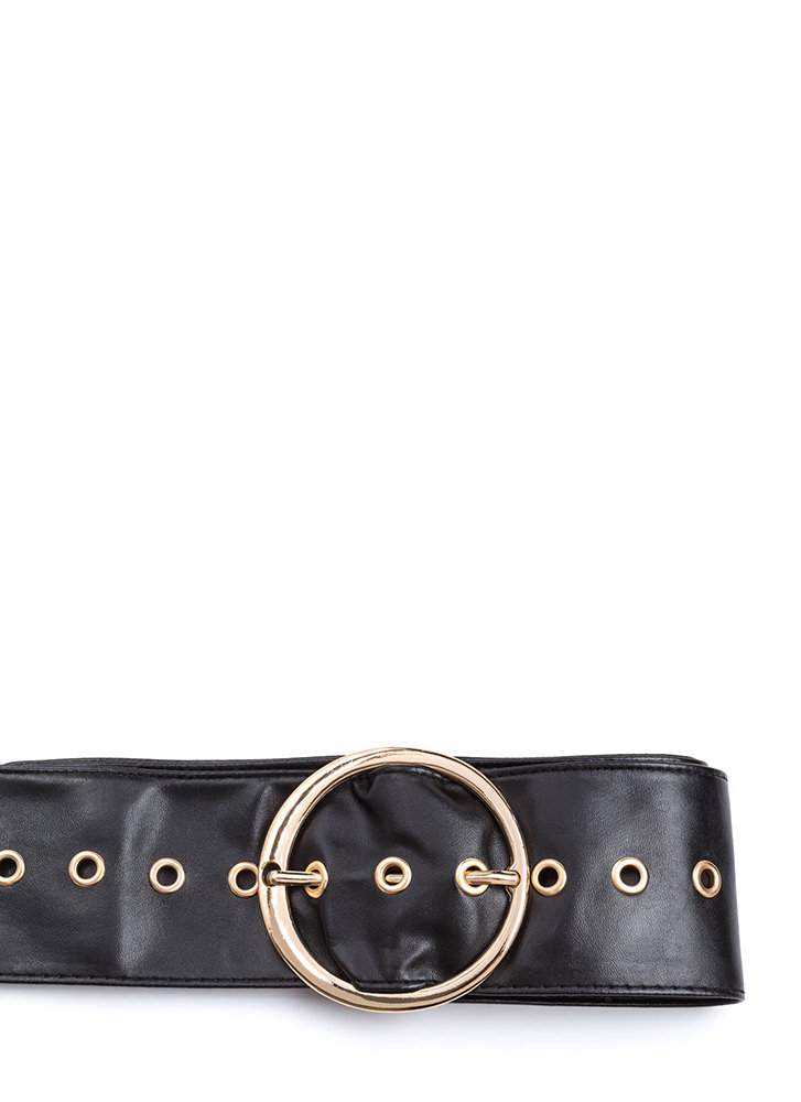 Ring Leader Wide Faux Leather Belt BLACK