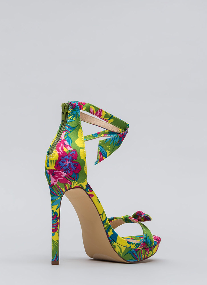 Tie And Tie Again Tropical Floral Heels MULTI