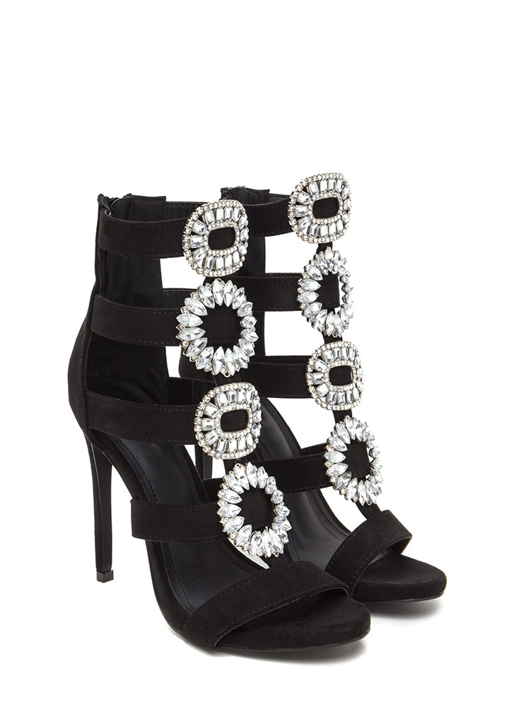 Wreath The Benefits Jeweled Caged Heels BLACK
