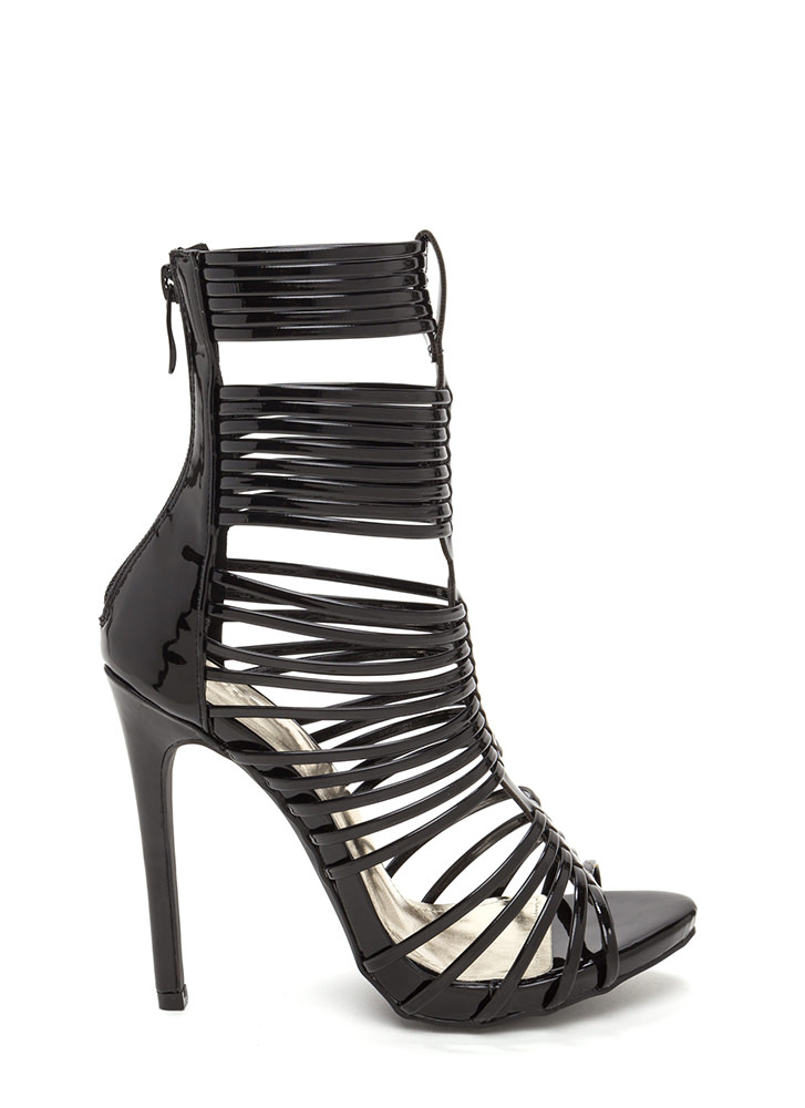 Stack Up To Be Strappy Gladiator Heels BLACK