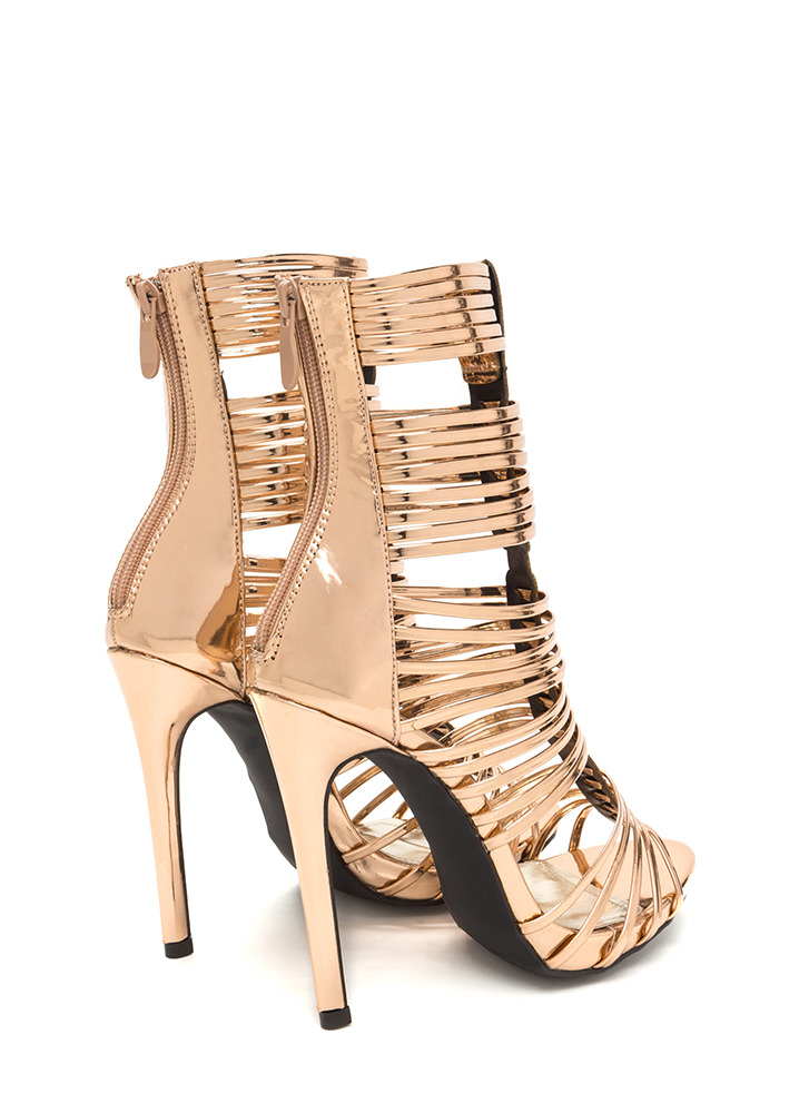 Stack Up To Be Metallic Gladiator Heels ROSEGOLD