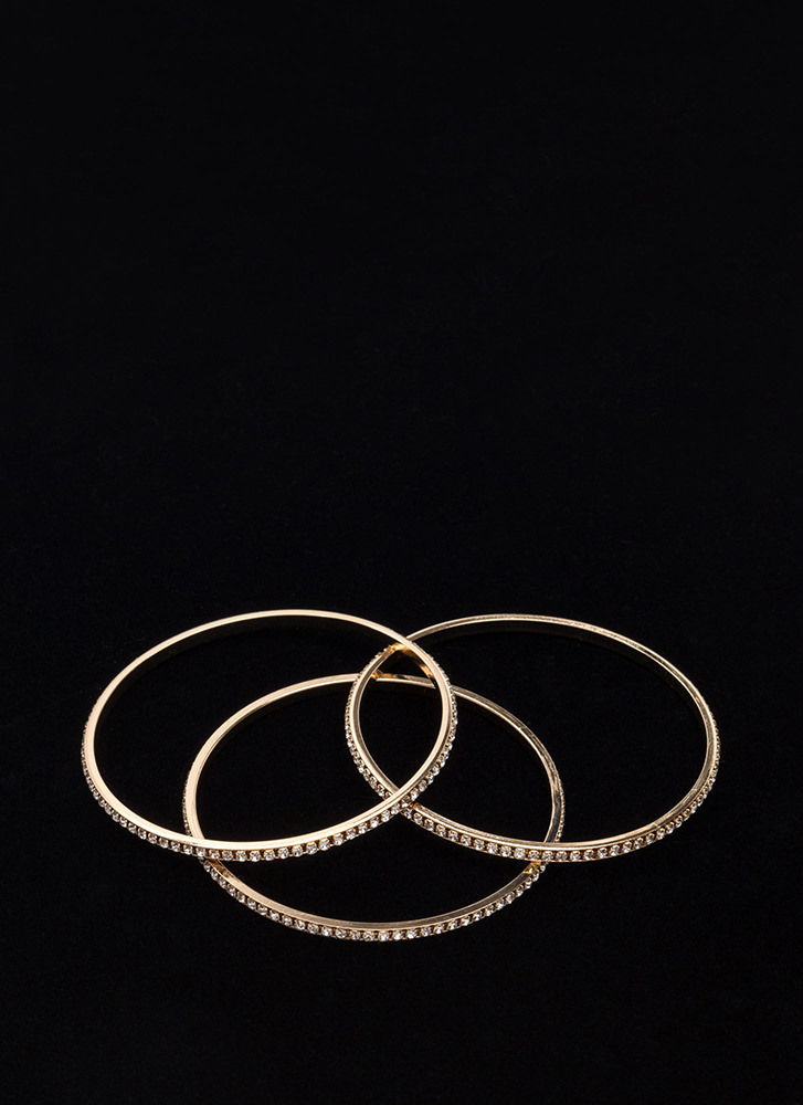 New Treasures Sparkly Bangle Set GOLD
