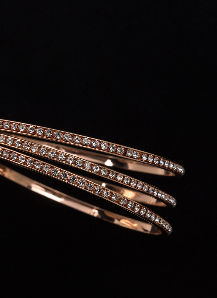 New Treasures Sparkly Bangle Set ROSEGOLD