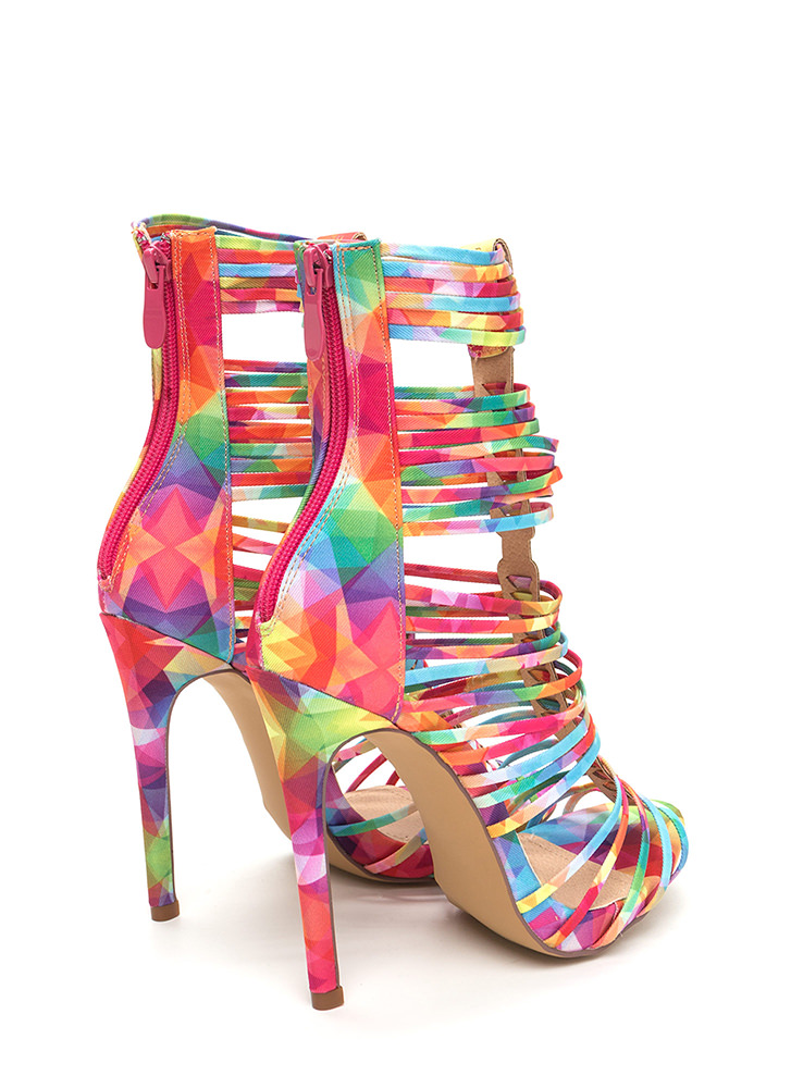 Stack Up To Be Rainbow Gladiator Heels MULTI