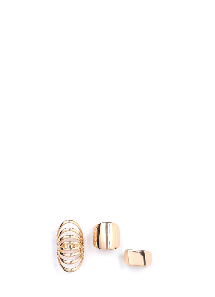 Finer Things In Life Triple Ring Set GOLD