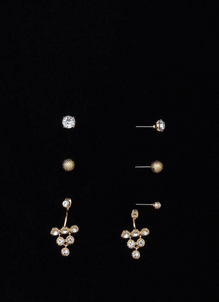Triangle It On Sparkly Earring Set GOLD
