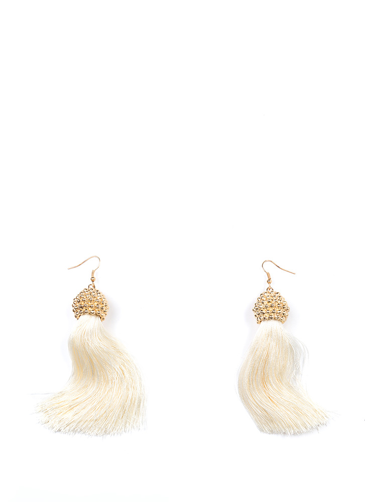 Boho Trip Textured Tassel Earrings IVORY