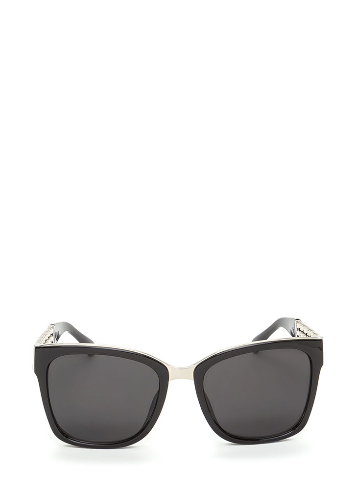 Yank Your Chain Square Sunglasses BLACKWHITE