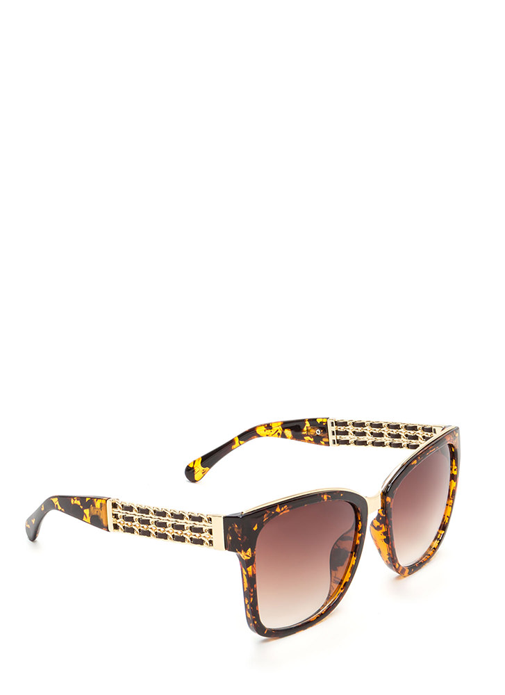 Yank Your Chain Square Sunglasses BROWNGOLD