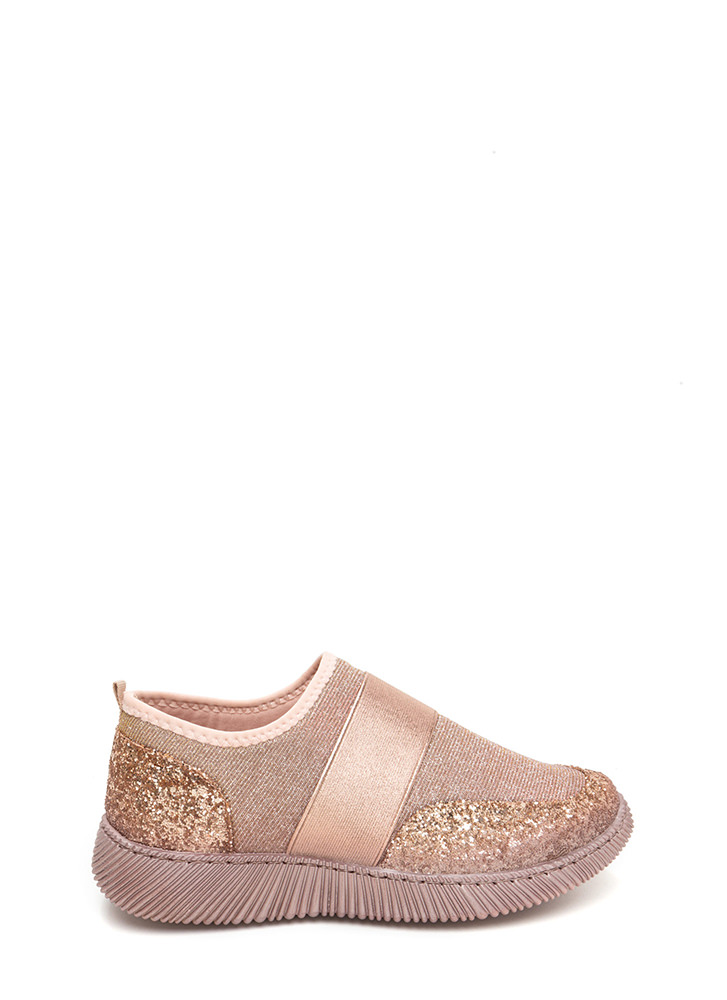 In A Band Sparkly Slip-On Sneakers ROSEGOLD