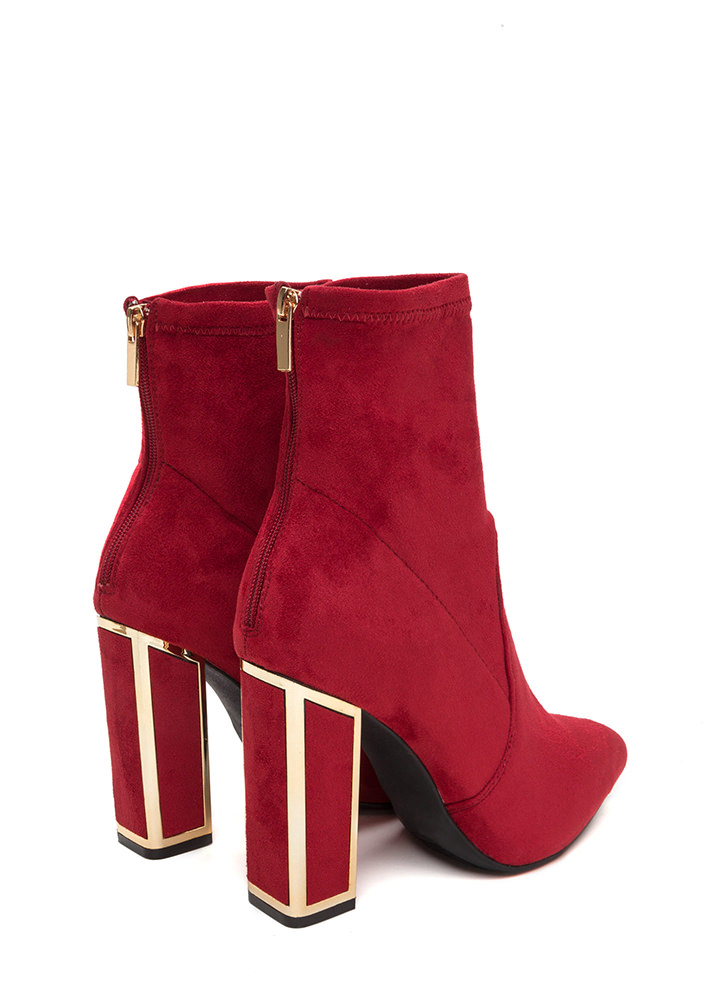 I've Been Framed Chunky Pointy Booties RED