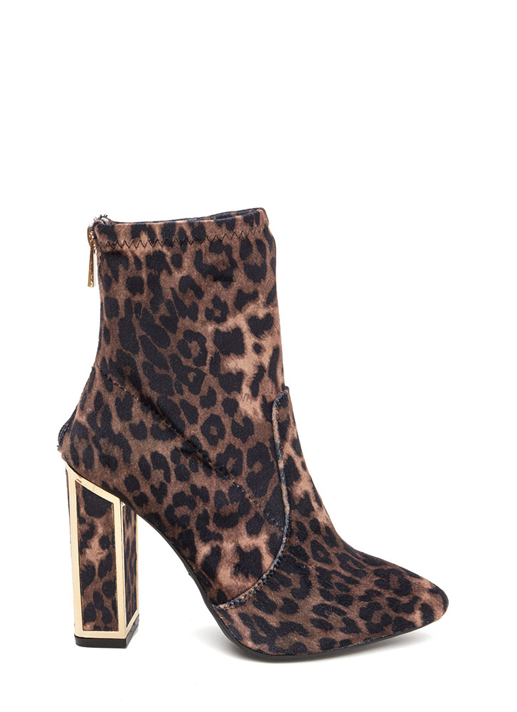 I've Been Framed Chunky Leopard Booties LEOPARD