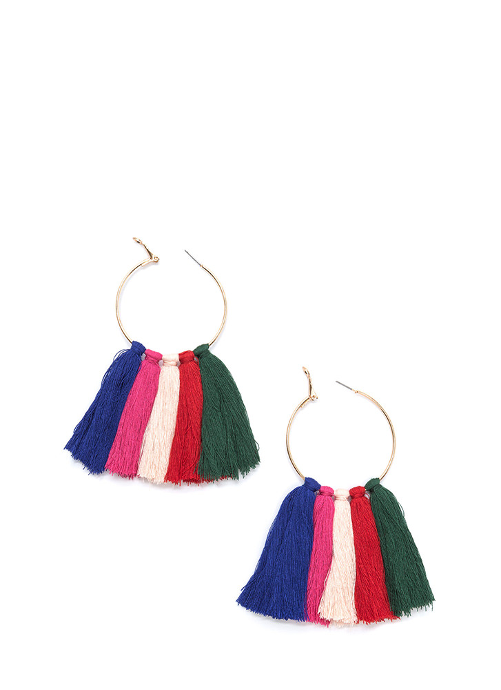 Tasseled Holiday Hoop Earrings MULTI