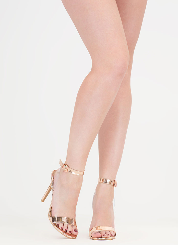 Clear Day Metallic Faux Patent Heels ROSEGOLD