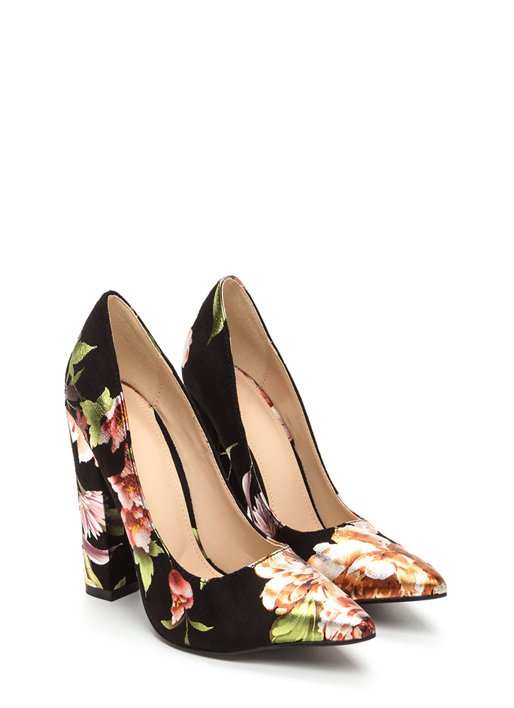Gleaming Floral Décor Pointy Heels BLACK
