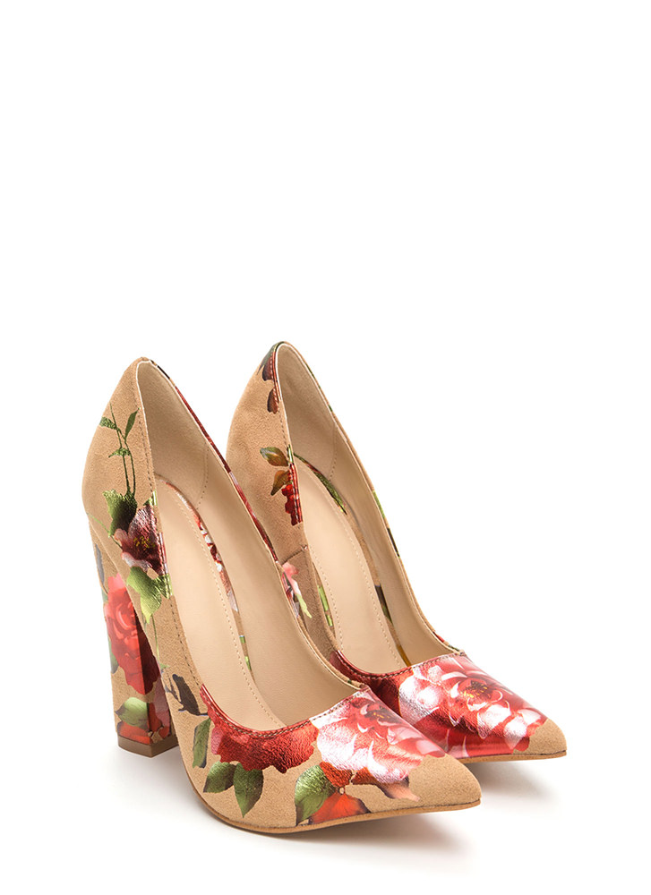 Gleaming Floral Décor Pointy Heels CAMEL