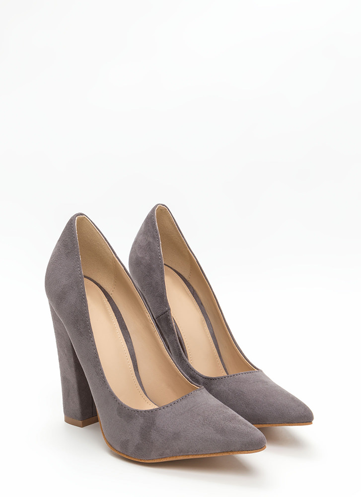 Versatile Pick Pointy Chunky Heels GREY