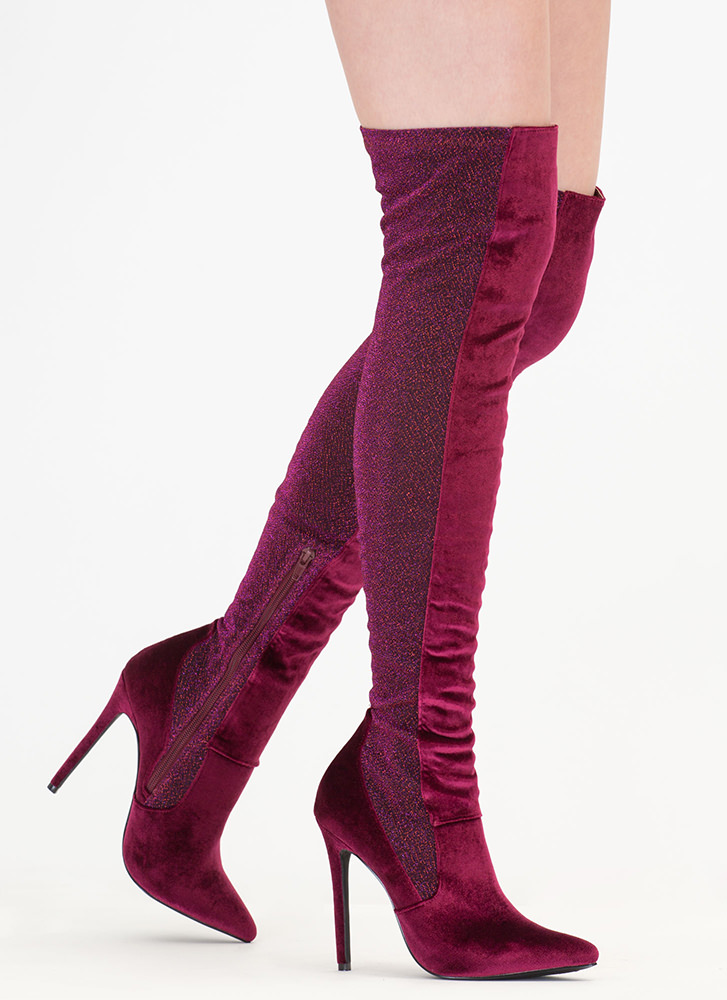Space Out Glittery Thigh-High Boots WINE
