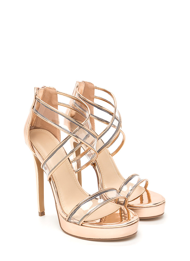 Clear Mind Strappy Metallic Heels ROSEGOLD
