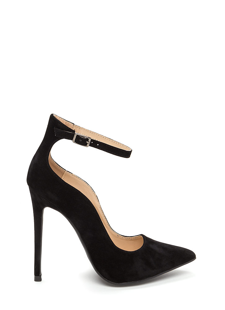 Sensual Curves Pointy Faux Suede Heels BLACK