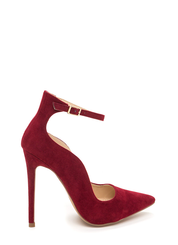 Sensual Curves Pointy Faux Suede Heels WINE