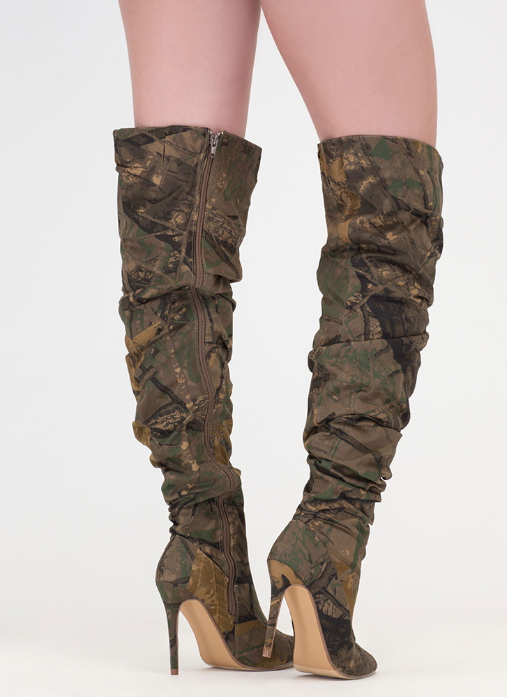 No Slouch Camo Print Thigh-High Boots CAMOUFLAGE