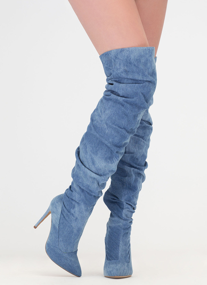 No Slouch Washed Denim Thigh-High Boots BLUEWASH