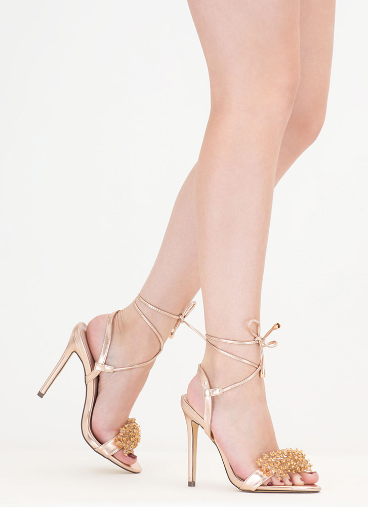 Bead Me To It Metallic Lace-Up Heels ROSEGOLD