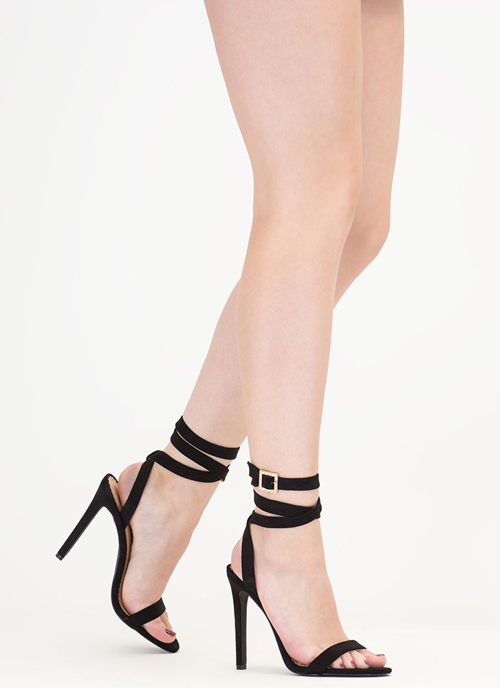 Wraparound The Bend Faux Suede Heels BLACK
