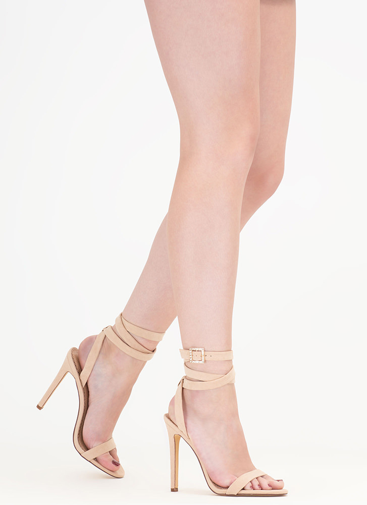 Wraparound The Bend Faux Suede Heels NUDE