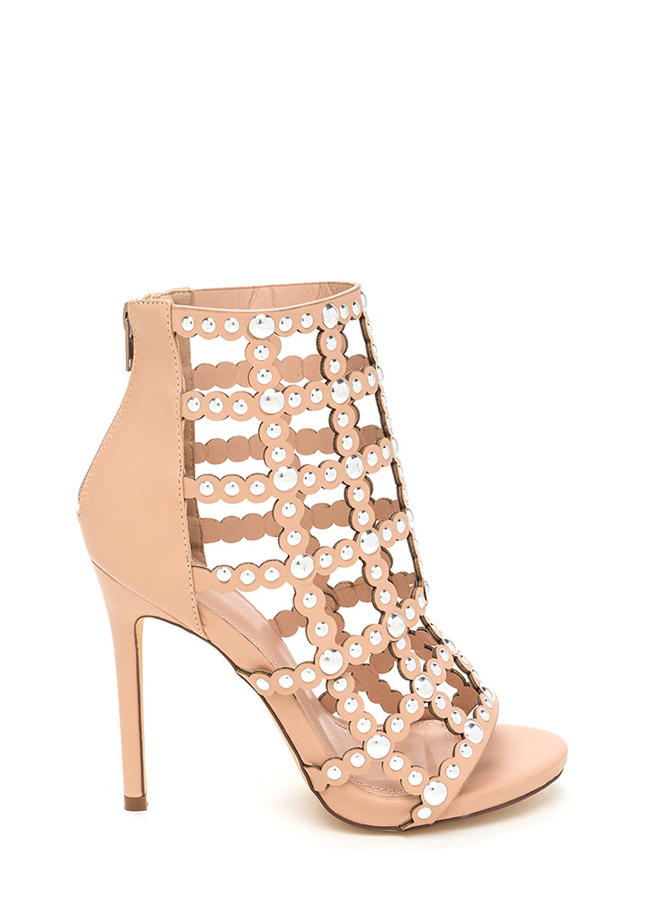 Bubbly Personality Strappy Studded Heels NUDE