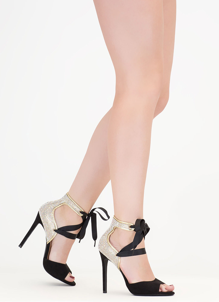 Bling The Heat Jeweled Lace-Up Heels BLACK