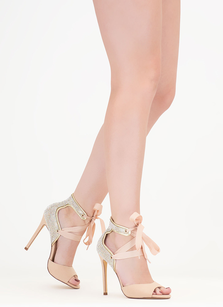 Bling The Heat Jeweled Lace-Up Heels NUDE