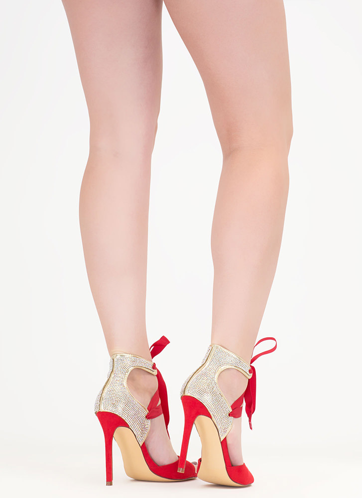Bling The Heat Jeweled Lace-Up Heels RED