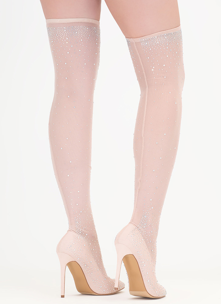 Stocking Filler Jeweled Thigh-High Heels NUDE