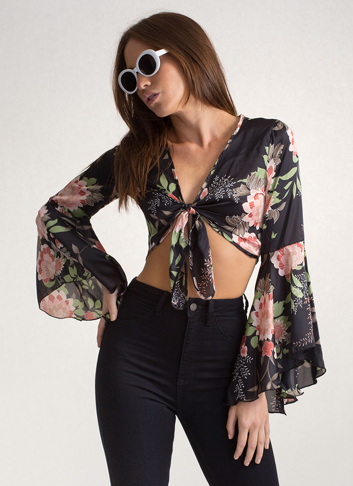 Freshly Picked Tied Floral Blouse BLACK