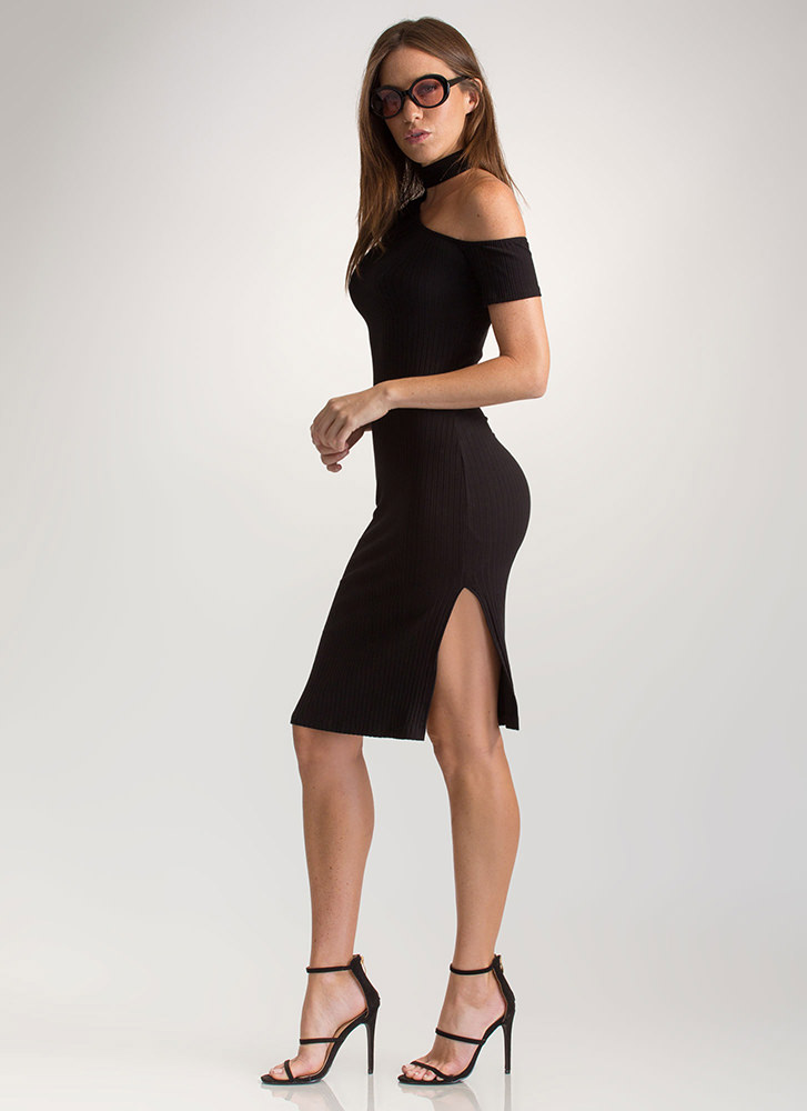 Make The Cut-Out Ribbed Choker Dress BLACK