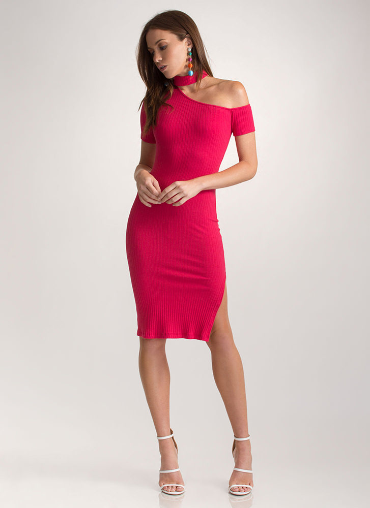 Make The Cut-Out Ribbed Choker Dress FUCHSIA
