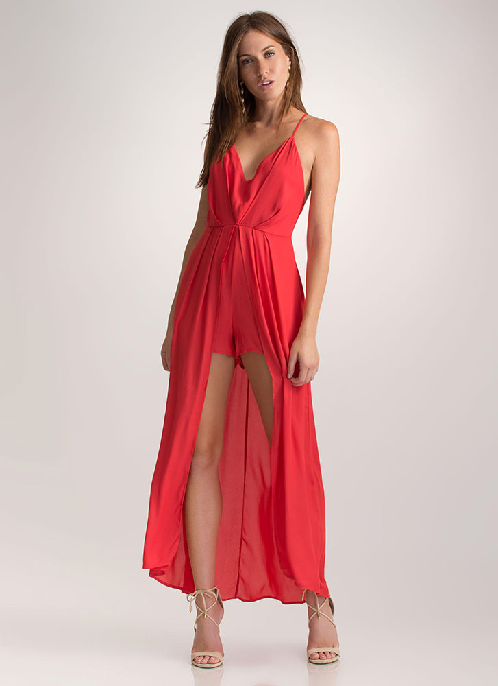 Flirty Flow Plunging Open Back Maxi RED